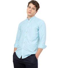 camisa los caballeros manga larga cuello neru azul aguamarina