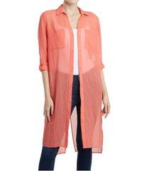 jones new york women's roll tab sleeve button front crossover back tunic