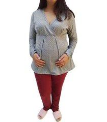 conjunto de pijama longo linda gestante maternidade e amamentação poá feminino - feminino
