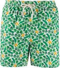 mc2 saint barth summer flower-print swim shorts - white