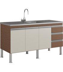 gabinete para cozinha ibiza 80x144cm amêndoa e off white