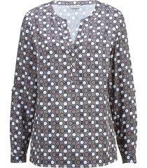 blouse alba moda taupe::blauw::wit
