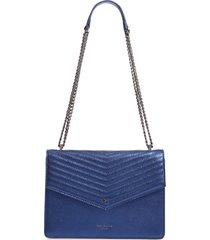 ted baker london kamille metallic leather shoulder bag - blue