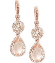 marchesa rose gold-tone crystal double drop earrings