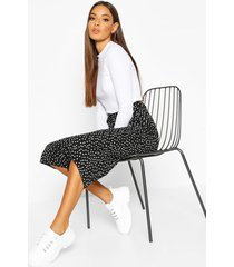 belted woven polka dot culottes, black