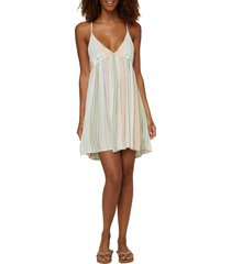 o'neill saltwater solids stripe cover-up tank dress, size small in multi beach stripe at nordstrom