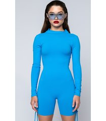 akira anytime now long sleeve romper with mock neck