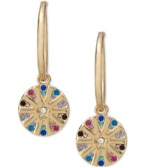 rachel rachel roy gold-tone multicolor pave star disk charm hoop earrings