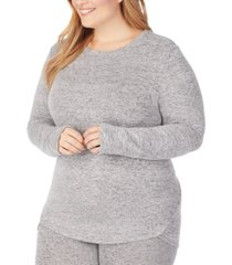 cuddl duds women's plus size soft knit long-sleeve crewneck top