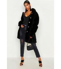 faux fur teddy jas met knopen, zwart