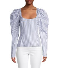 caroline constas women's striped cotton top - blue stripe - size xs