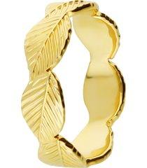 anello placcato oro con fascia di foglie per donna