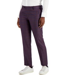 kirrin finch plum windowpane-plaid dress pants
