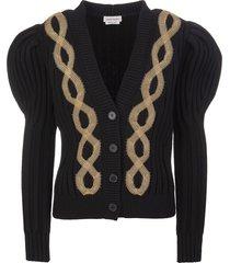 woman black short cardigan with metallic braids