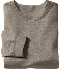 linnen shirt met lange mouwen, rookblauw xl