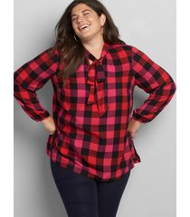 lane bryant women's checkered tie-neck top 26 red, pink and black plaid