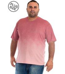 camiseta konciny manga curta plus size rosa