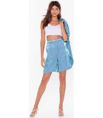 womens let's glow metallic longline shorts - teal