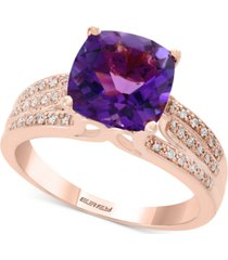 amethyst (3-1/10 ct. t.w.) & diamond (1/8 ct. t.w.) ring in 14k rose gold