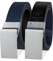 calvin klein men's 38mm plaque reversible textured belt