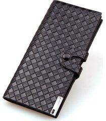 billetera, cartera tejida del monedero del botón de-negro