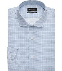 esquire white & blue dot -square print slim fit dress shirt