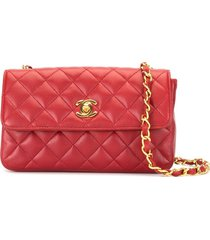 chanel pre-owned 1990 diamond quilt crossbody bag - red