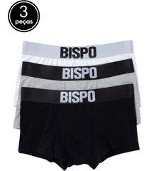 kit 3 cuecas bispo - lucca - branco/cinza/preto - masculino - algodã£o - dafiti