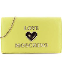 love moschino yellow clutch with logo
