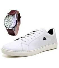 sapatênis sapato casual com relógio zaru led t10mr branco