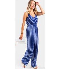 lanna striped surplice jumpsuit - blue