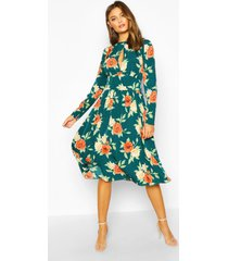 floral ruffle long sleeve midi dress, green