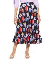 women's halogen pleated midi skirt, size x-small - black