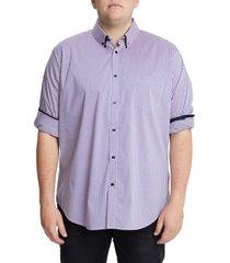 men's big & tall johnny bigg smith stretch check button-down shirt, size 2xlt - purple