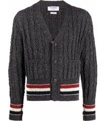 thom browne rwb stripe cable-knit cardigan