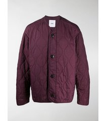 oamc quilted collarless bomber jacket