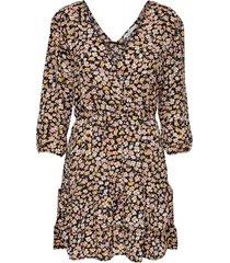 only fuchsia 3/4 wrap dress wvn black/ranch floral