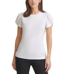 dkny puff-sleeve top