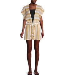 ramy brook women's striped coverup dress - size xs/s