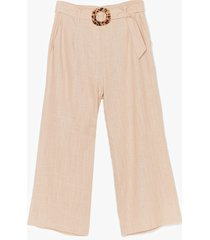 womens what the buckle belted linen culottes - ecru