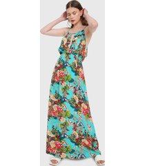 vestido azul turquesa-multicolor paris district