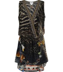 camilla treasure chaser cross-over silk dress - black