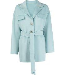 pinko short belted coat - blue