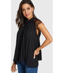 black lace stand collar cap sleeves blouse