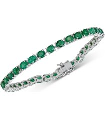 emerald tennis bracelet (17 ct. t.w.) in sterling silver(also available in sapphire)