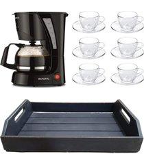 kit 1 cafeteira mondial 110v, 6 xícaras 240ml com pires e 1 bandeja em mdf preto