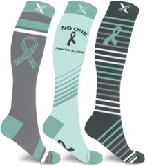 men's and women's ovarian cancer awareness knee high compression socks - 3 pairs