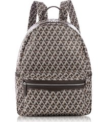 lancaster paris designer men's bags, ikon brown coated canvas men's backpack