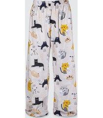 spodnie bawełniane do spania piżama koty