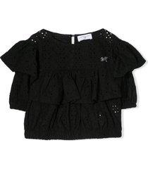 monnalisa black cotton ruffled t-shirt